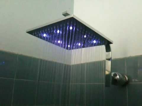 rain like shower head. Rain Like Square LED Shower Head No Batteries  YouTube