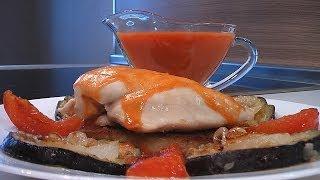 Филе курицы с баклажанами и помидорами.Очень вкусно!