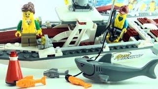 Lego Fishing Boat with Shark 60147 - Lego City motor boat Fishing Rod - Lego Speed Build