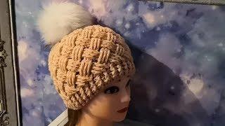 Шапка-плетенка крючком. Подробное видео.