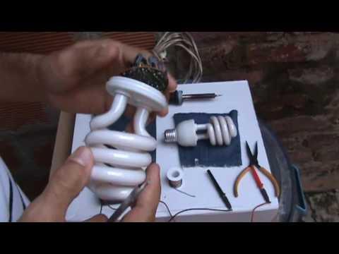 como reparar bombillas ahorradoras /  how to fix energy saver lamps