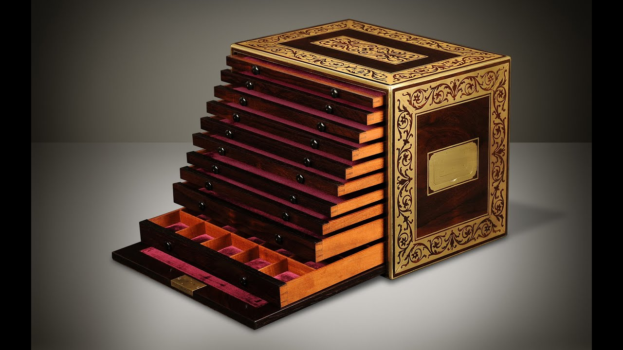 Daniellucian.com   Antique Jewellery Cabinet In Rosewood With Foliate Brass  Inlay And Ten Drawers