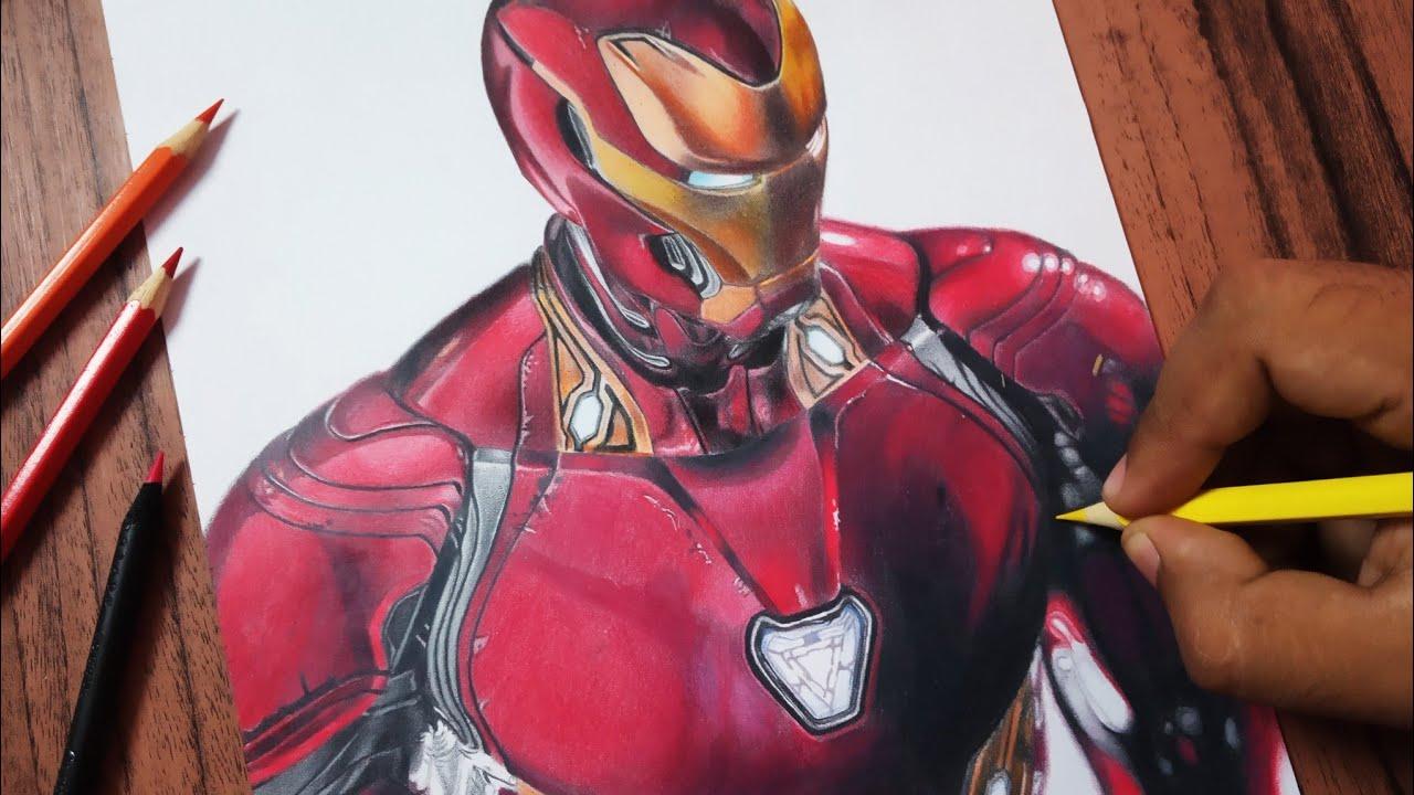 Desenhando O Homem De Ferro Realista Com Lapis De Cor Lino Do