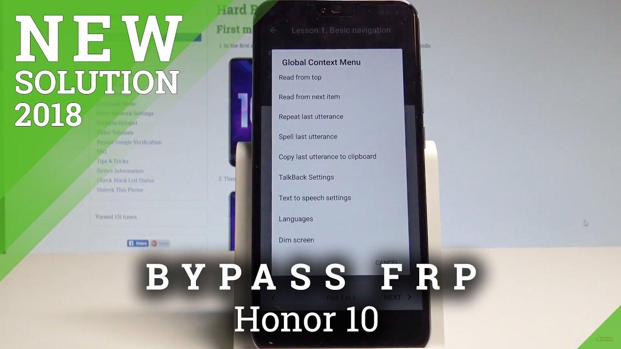 How to Bypass Google Account on Honor 10 - Unlock FRP / Skip Google  Verification