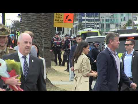 The Royals Harry & Meghan accept flowers as they wave goode to Melbourne 181018