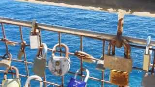 Love Locks (Padlocks) in Costa dels Pins Cala Bona Mallorca June 2013 Close Up in HD