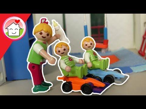 Playmobil - Babysitten bei Zwillingen Paul und Alex - Geschichte für Kinder von Familie Hauser
