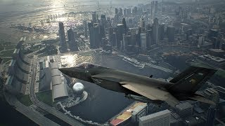 F-35C flying over Downtown in Amazing Game Ace Combat 7 Skies Unknown