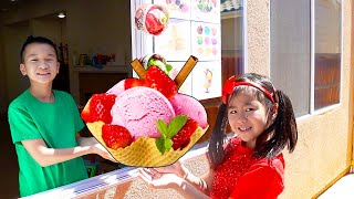 Jannie and Andrew Pretend Play Selling Ice Cream Drive Thru Shop | Funny Food Toys Story for Kids