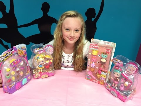 Unboxing & opening new shoppies dolls, shopkins & nom nums. With Princess ella. Fun new toy review.