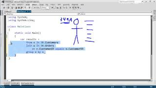 Uses C# LINQ to show how to do a join with a group and an into clause.