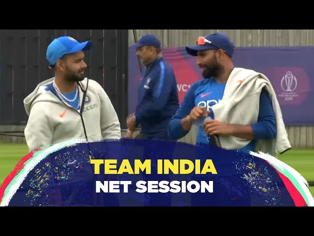 India's net session feat. Mohammed Shami bowling