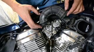 Mototsikllar ta'mirlash haqida Honda bir steed va gapirish bo'yicha carburetors o'rnatish.