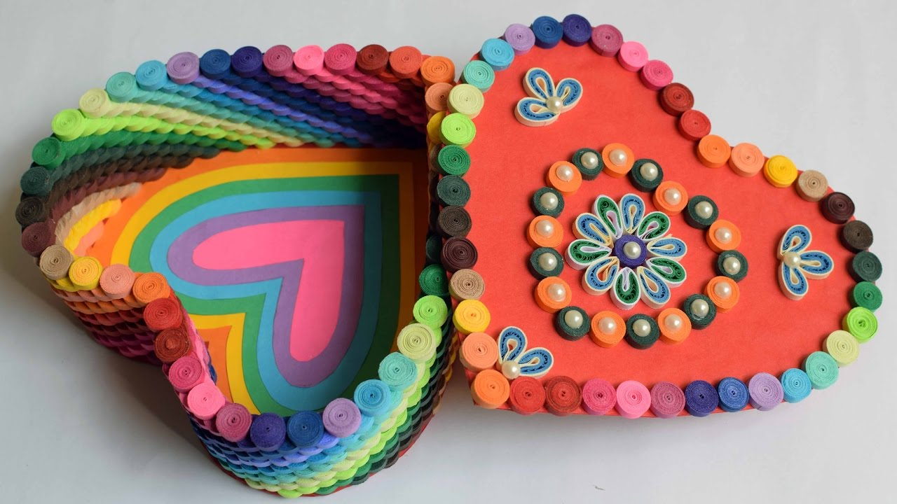 Quilled Heart Box Rainbow Quilled Box Heart Box Handmade
