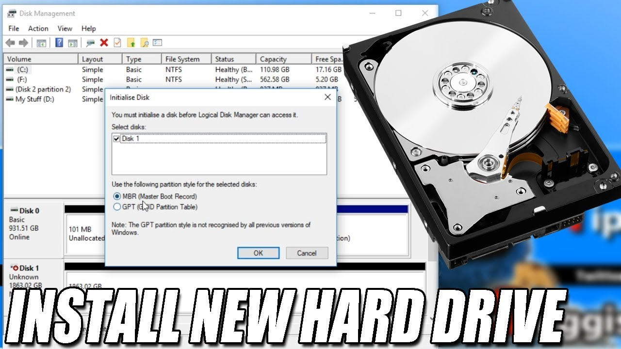 How To Make New Hard Drive Visible In Windows 10 Tutorial   Activate New  HDD & SSD
