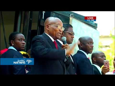Jacob Zuma addresses supporters post court appearance in Dbn
