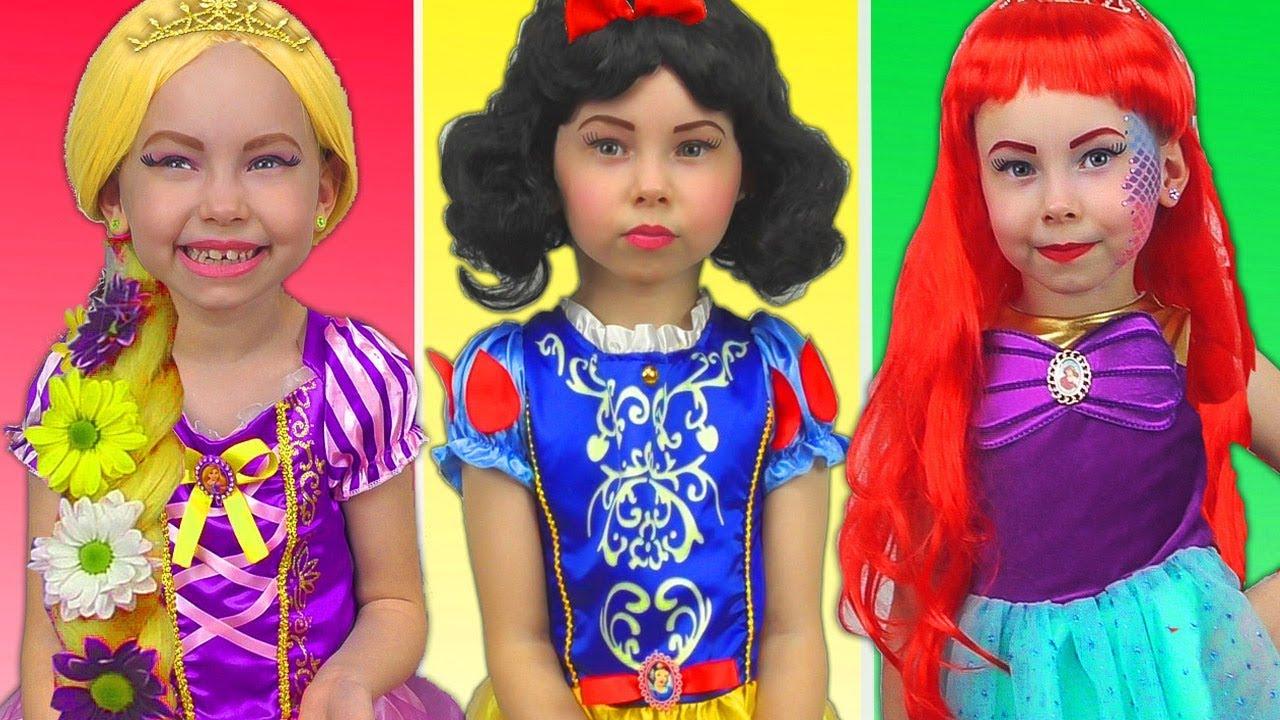 Costumes Disney Princesses Kids Makeup Rapunzel, Snow White, Little Mermaid & Real Princess Dres