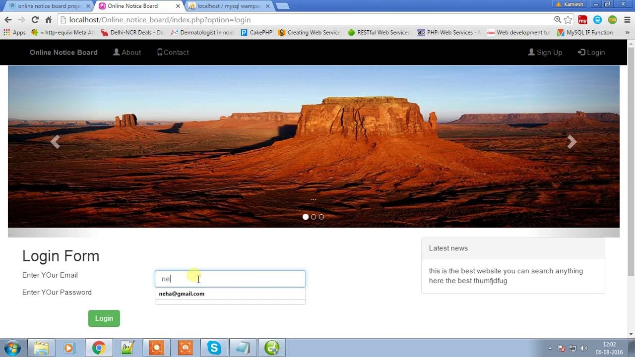 Online notice board project,notice board online