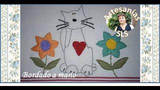 Bordado a mano paso a paso ♥ Gato y flores ♥ PRINCIPIANTES ♥