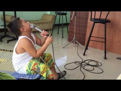 Karsten at 6 years old Karaoke Pusong Bato