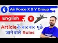 8:00 PM - Air Force 2019 X & Y Group | English by Sanjeev Sir | Repeated Rules of Articles