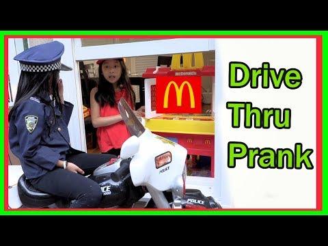Pretend Play POLICE with McDonald's drive thru prank