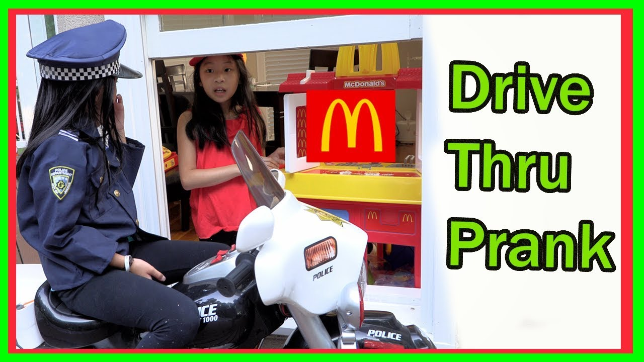 Pretend Play POLICE with Ryan's Toy Review inspired ( McDonald's drive thru prank )