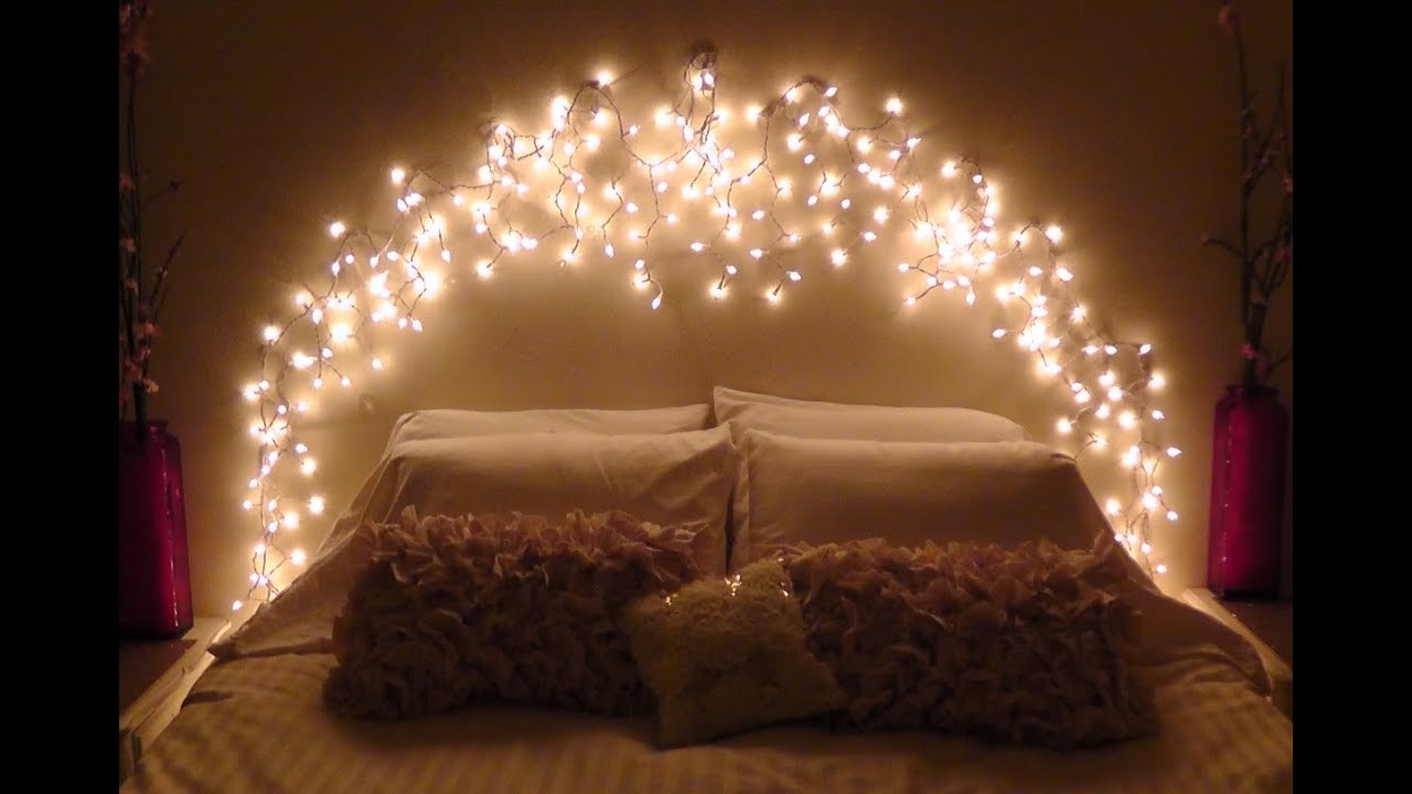 Diy icicle light faux headboard youtube for Bedroom lights decor