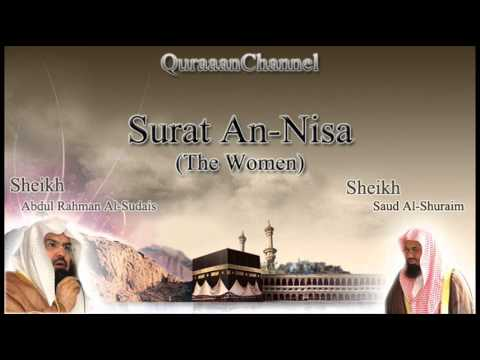 4- Surat An-Nisa (Full) with audio english translation Sheikh Sudais & Shuraim
