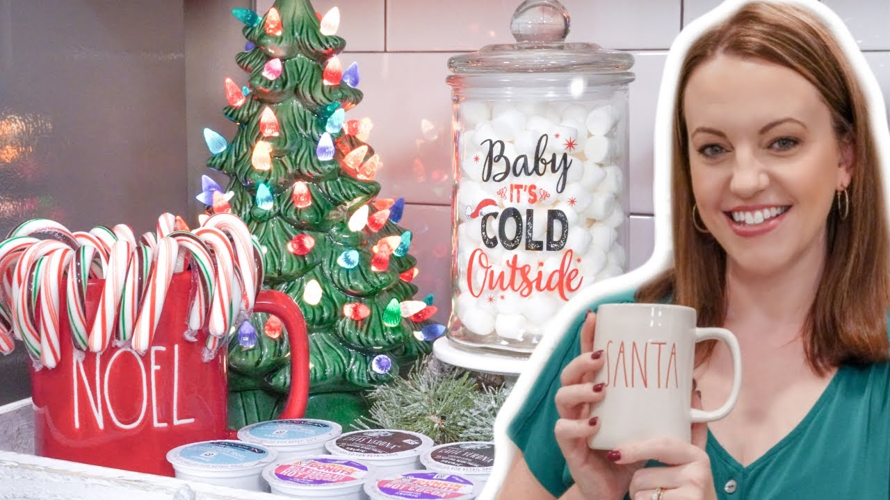 Utube 2021 Christmas Coffee Cicoa Bar Coffee Bar Hot Cocoa Station Kitchen Christmas Decor Youtube