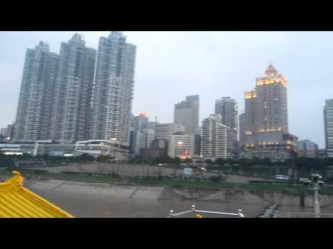 Chongqing City Skyline from MV Dragon on Yangtze River, China
