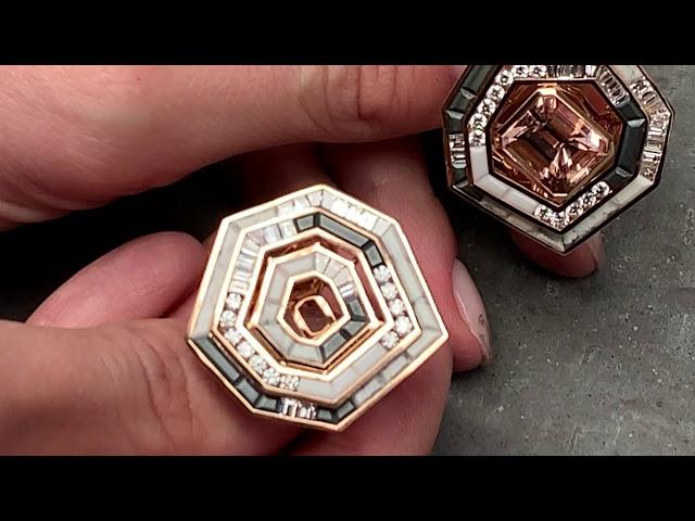 Dramatic pink rings from British Jewelry Designer Tomasz Donocik