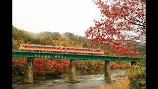 キハ47急行色&キハE130「紅葉の矢祭山を行く」