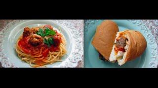 Meatball Marinara Pasta And Sandwich