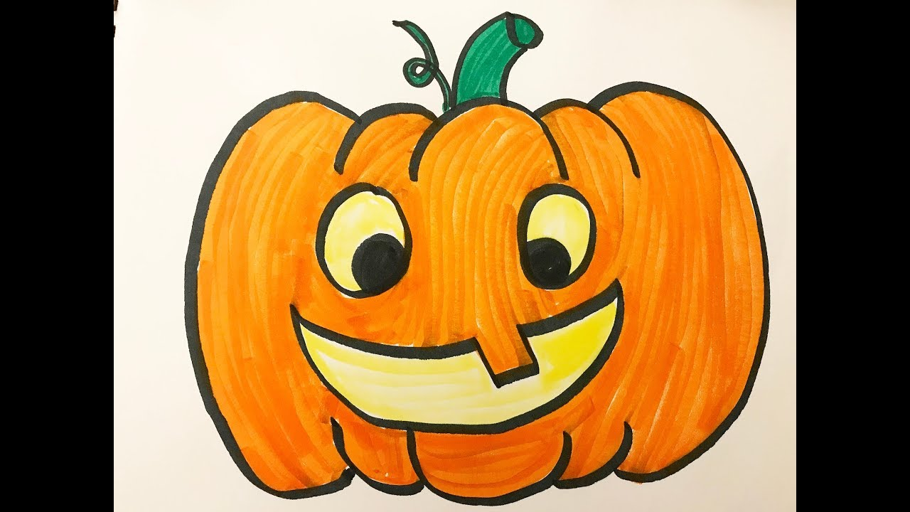 How to draw and color a Halloween Pumpkin -for kids! - YouTube
