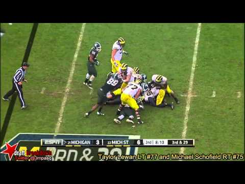 Taylor Lewan and Michael Schofield vs MSU 2013