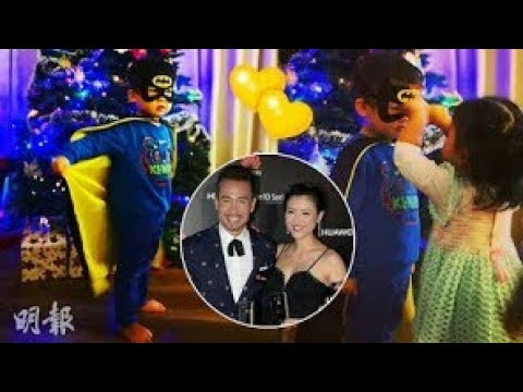 Aimee Chan's son disguises as Batman; Her daughter helps him to wear the eye mask