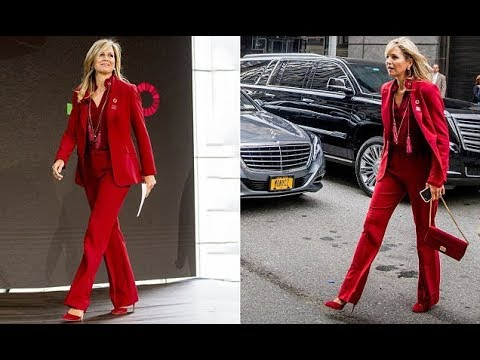 Queen Maxima of the Netherlands power dresses in a red in New York