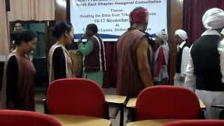 Rev. Dr. Chilkuri Vasantha Rao President SBSI leads Mizo song in Shillong on 16.11.2013