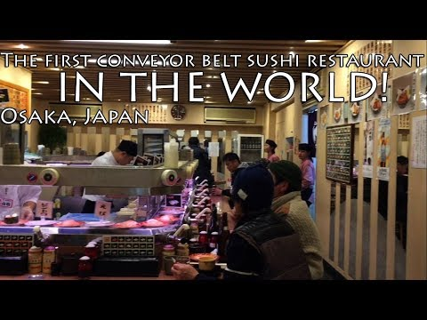 The FIRST conveyor belt sushi restaurant in the world! | Osaka, Japan