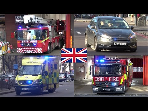 Fire engines, police cars and ambulances responding in London