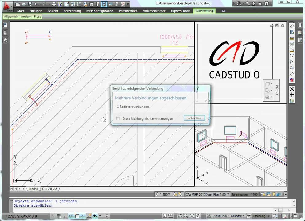 autocad mep 2010 heizung heizk rper setzen mit hilfe der caxtoolbox mep youtube. Black Bedroom Furniture Sets. Home Design Ideas
