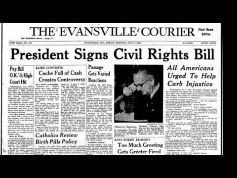 2nd July 1964: Civil Rights Act signed into law by Lyndon B Johnson