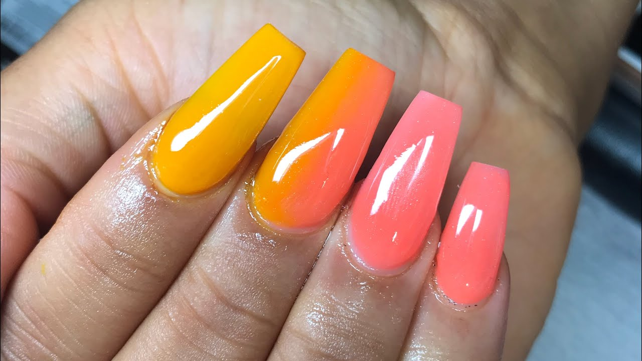 summer sunset ombre coffin nails