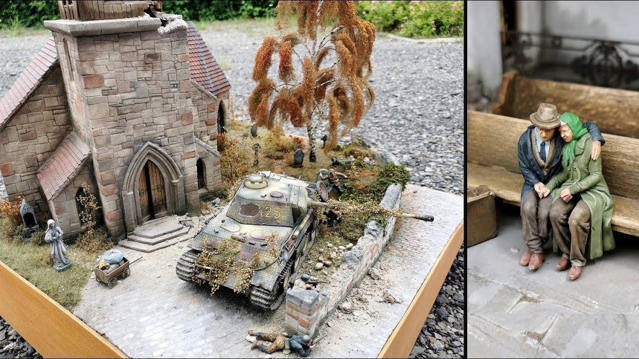 WW2 Panther Defensive Battle Church Diorama scale 1:35 / Deutscher Abwehrkampf Kirche mit Panther