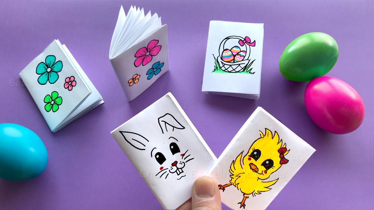 Bastelsachen Für Kinder Diy Mini Notebooks From One Sheet Of Paper Cute Easter Diy Gifts