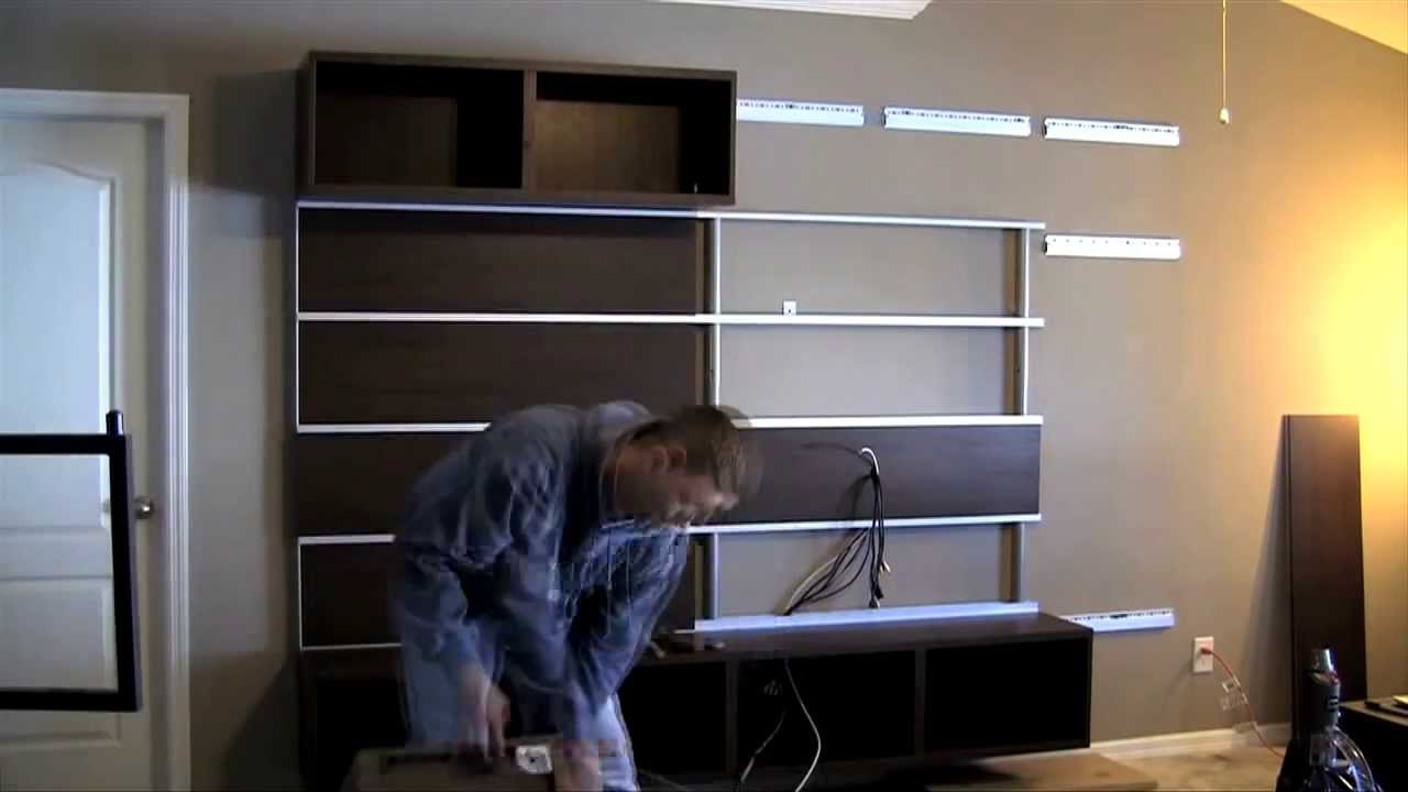 ikea besta framsta wall mount entertainment center assembly part 4 youtube. Black Bedroom Furniture Sets. Home Design Ideas