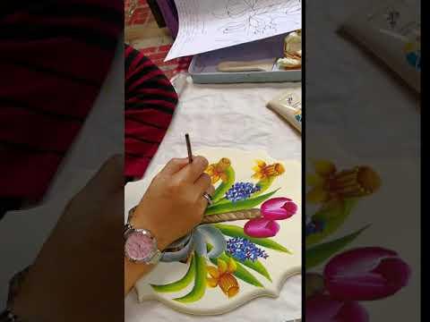 Folk Art Class – Basket of flowers
