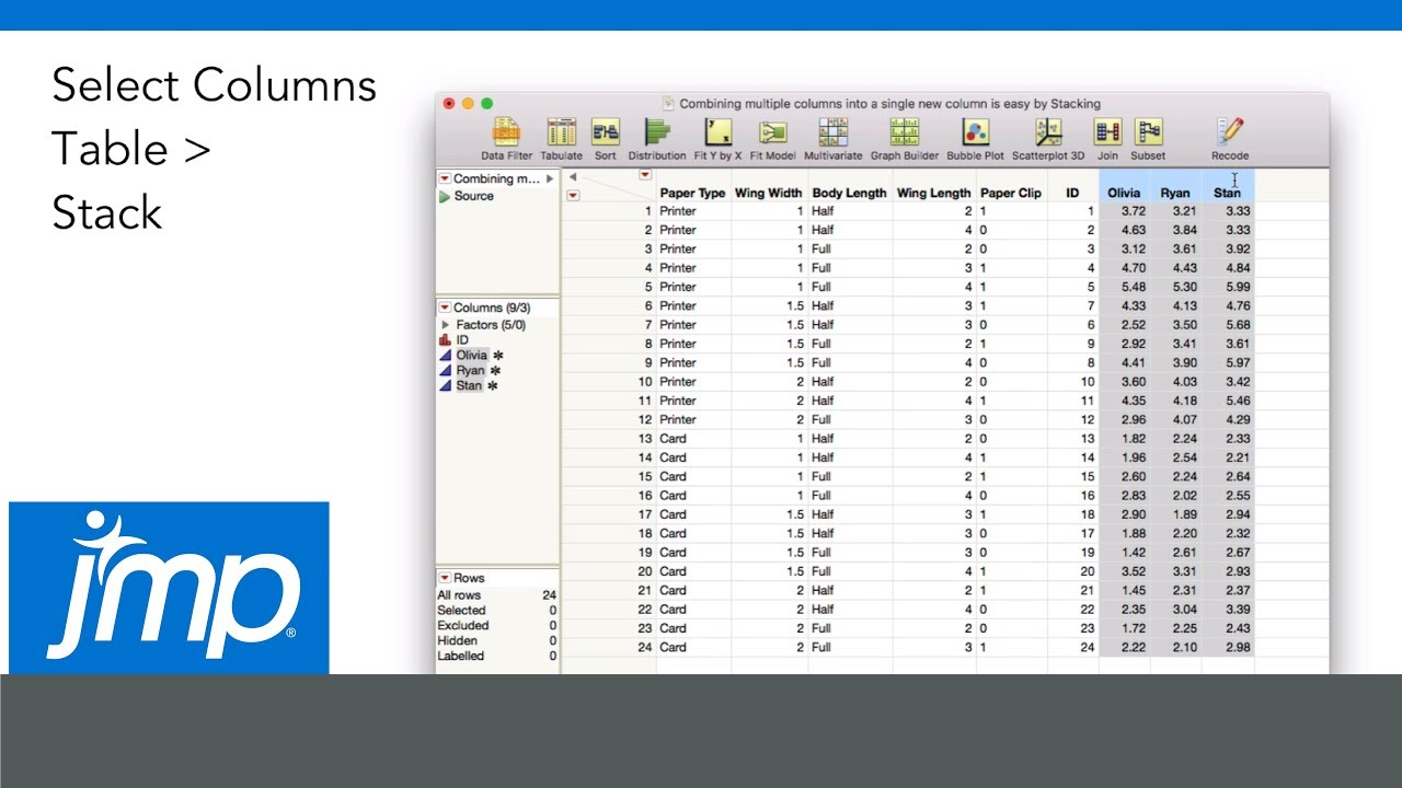 How to Stack Multiple Columns Into One Column in JMP