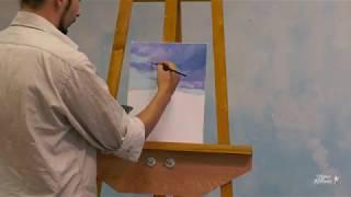 Пейзаж маслом. Урок как рисовать горы, небо и лес. Часть 1.